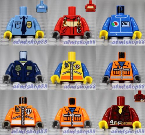 9x Minifigure Torsos Lot LEGO CITY TOWN Construction Worker Police #18c