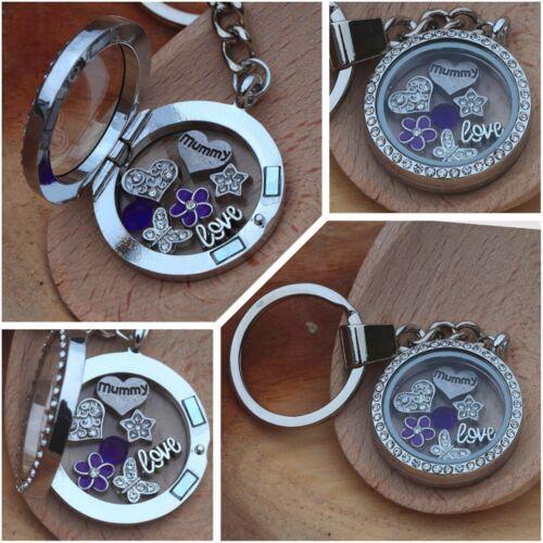 Mum nanny Mother/'s day gift// XMAS GIFT Personalised Floating Locket  keyring
