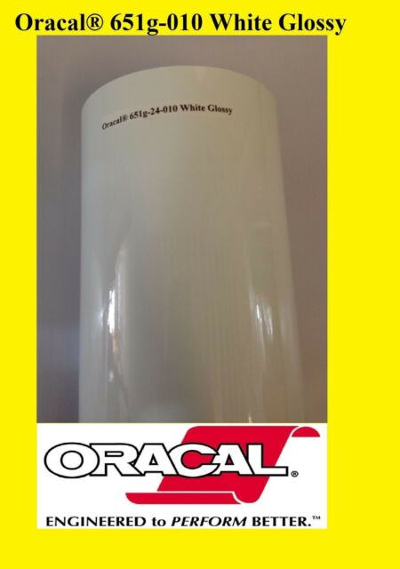 """30 feet Roll White Glossy Oracal 651  Vinyl Adhesive  Sign 010 24/"""" x 10 Yards"""