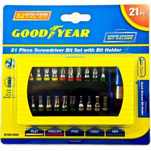 21pcs GoodYear Tournevis plat Hex embout ensemble Philipps Pozi Torx