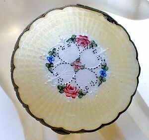 Art Deco Compact Yellow Guilloche Enamel Rose Lady's Vanity Powder Mirror