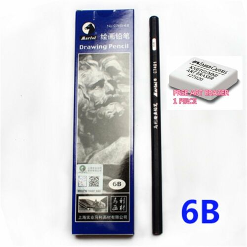MARIE/'S C7401 DRAWING pencil model 6B FREE 1 ERASER BLACK 10 piece per box