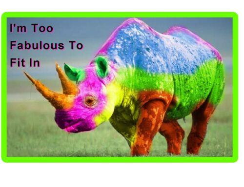 Locker  Magnet Gift Card Insert Funny Fabulous Rhinoceros  Refrigerator