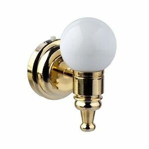 miniature battery operated white globe led wall sconce 1 12 dollhouse lighting. Black Bedroom Furniture Sets. Home Design Ideas