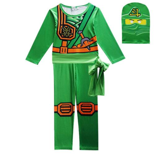 Costume Enfant Garçons Ninjago Kai Jay Lloyd Cosplay avec Masque Carnaval