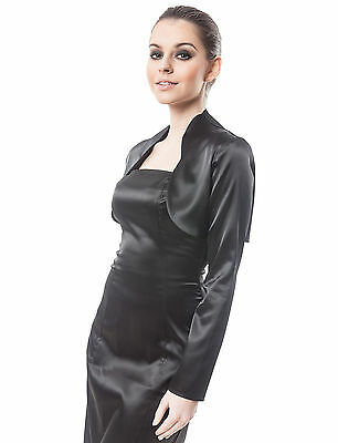 Humor Womens Wedding Satin Bolero Shrug Jacket Stole Long Sleeves Uk Size 6-28 VerrüCkter Preis