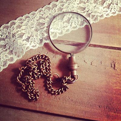 HOT SALE Antique Brown Bronze Monocle Magnifying Glass Pendant & Pocket Chain