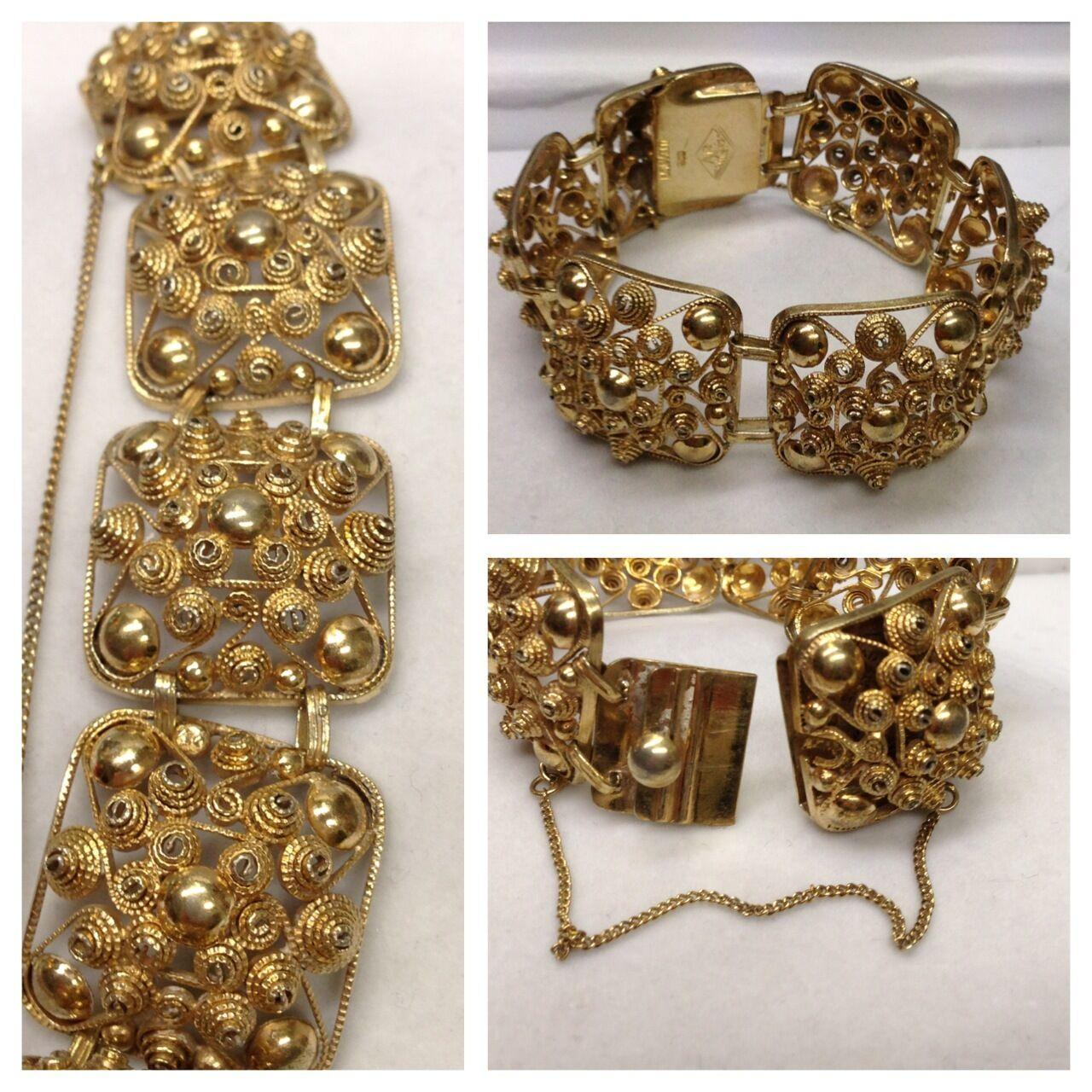 Bracciale Largo 800er 800er 800er argentoo dorato anelli mobili realizzati a mano ca4805