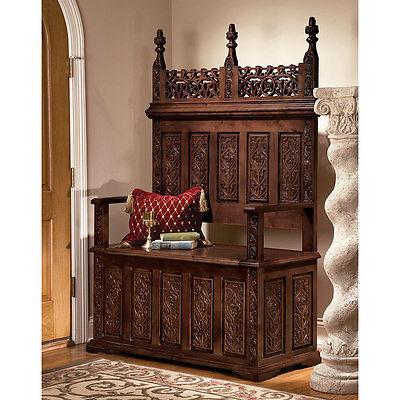 entryway storage bench carved solid hardwood gothic church pew monks