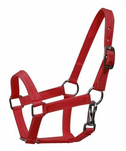 NEW HORSE TACK!! RED PONY Size Western Nylon Halter w// Nickel Plated Hardware