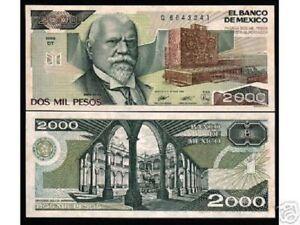 Details about MEXICO 2000 2,000 PESOS P86 1989 UNIVERSITY UNC JUSTO SIERRA  MONEY BILL BANKNOTE
