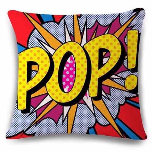 """UK Pop Art Rétro animation Housse de coussin 17x17/"""" Oreiller Maison Idée Cadeau Comic Rouge"""
