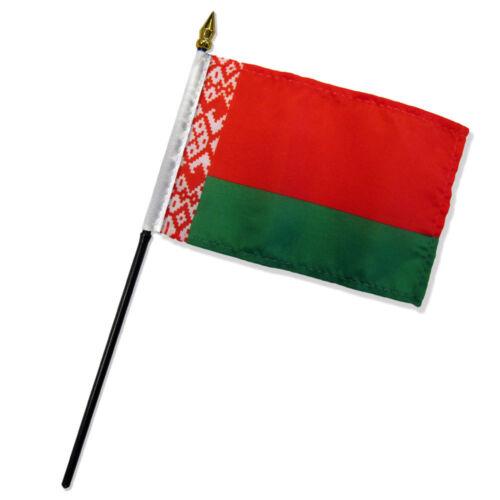 """Wholesale Lot of 12 Belarus 4/""""x6/"""" Desk Table Stick Flag"""