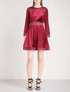 eee864db459 TED BAKER red velvet lace fit   flare full skirt skater dress ...