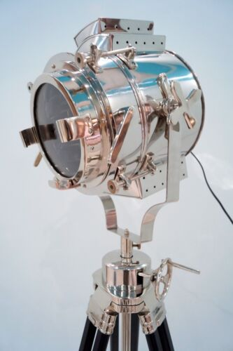 Vintage Hollywood Chrome Spotlight Black Tripod Stand Search Light Floor Lamp