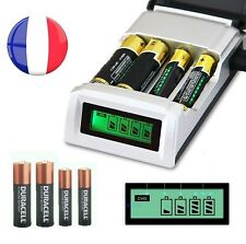 Chargeur de piles AA/AAA NiCd NiMh écran affichage LCD 4 emplacements LR06/LR03