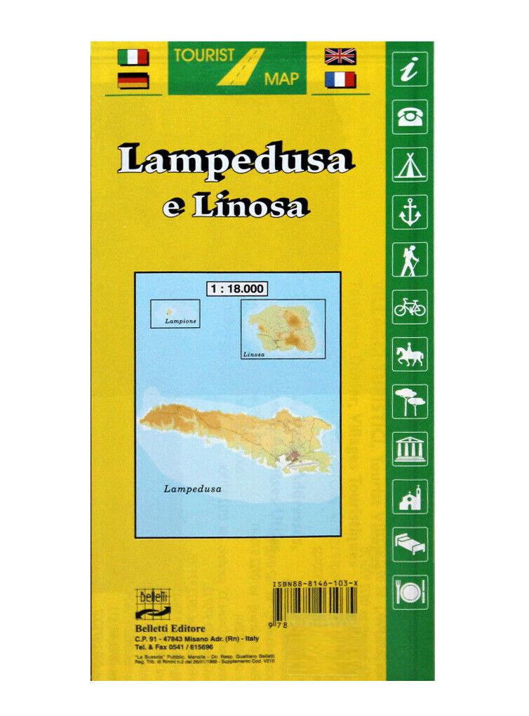 Cartina Geografica Lampedusa.Lampedusa E Linosa Cartina Stradale Turistica 1 18 000 Carta Mappa Belletti Ebay