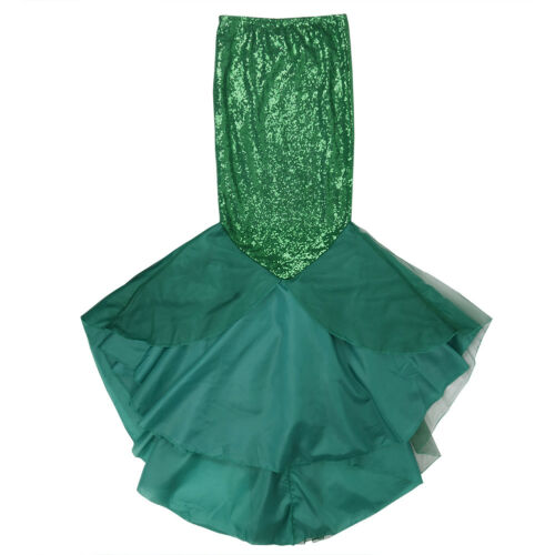Womens Mermaid Halloween Costume Cosplay Party Sequins Maxi Dress Tail Skirts