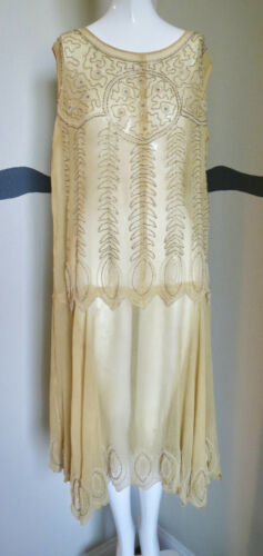 Vintage 1920s Dress Beaded Silk Chiffon