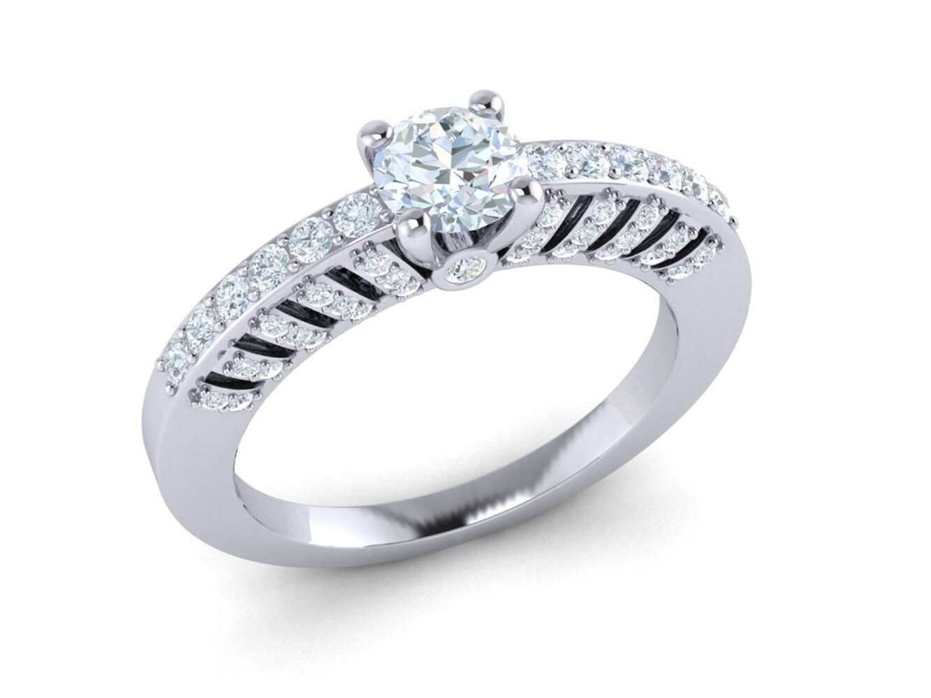 Real 1carat Round Cut Diamond Bridal Cathedral Halo Engagement Ring 10K gold