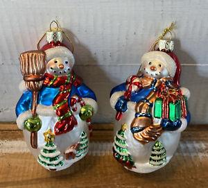 Lot-of-2-Vintage-LAO-MAI-Blown-Glass-Large-Snowman-Christmas-Ornaments