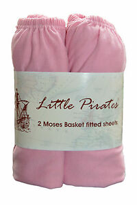 2 x Baby Crib/ Moses Basket Jersey Fitted Sheet 100% Cotton Pink 30x75cm 633926011388