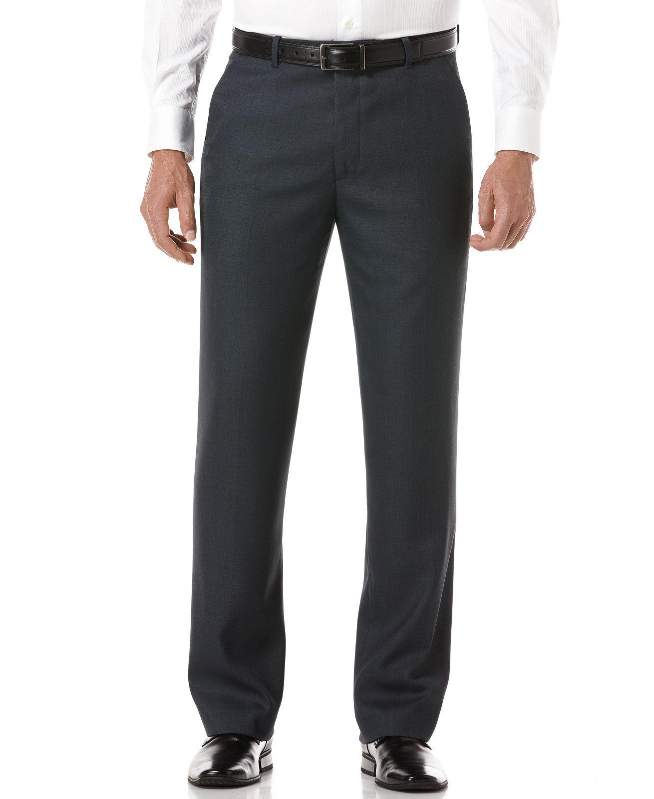 PERRY ELLIS PORTFOLIO men blueE FLAT FRONT FIT SUIT DRESS PANTS 34 W 32 L