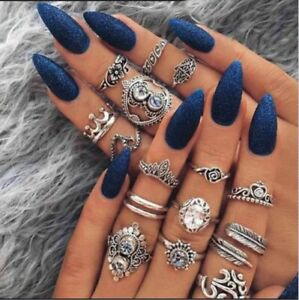 16pcs-Silver-Boho-Stack-Plain-Above-Knuckle-Ring-Midi-Finger-Tip-Rings-Set