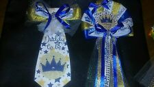 Baby shower Boy Prince Corsage and Tie Gold and Blue crown for the prince to be