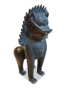 Bronzo Statua Wächter Lion Cane Cina Scultura Metallo Arte Asiatica Asia Cinese