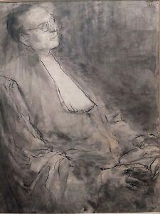 """Bien Robert Louis Charazac , """"magistrat"""", Portrait Au Lavis D'encre, Bordeaux 1945 Achat SpéCial"""