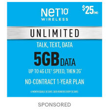 12 Months- Net10 Prepaid Wireless Phone Plan+SIM-Unlimited Talk & Text 5GB