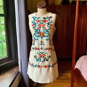 CYNTHIA STEFFE Floral Embroidered Rayon SHIFT Dress INDIA 6