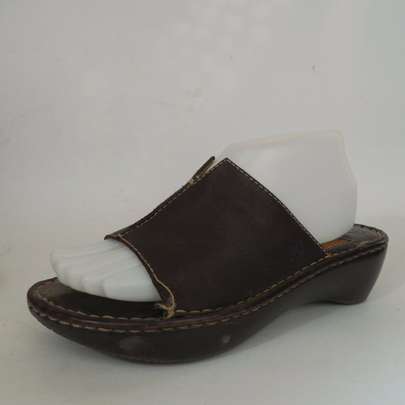 Born Wedges Womens Dark Brown Leather Slides High Heel Wedges Born Sandals Sz 8 Wide f4c7c7