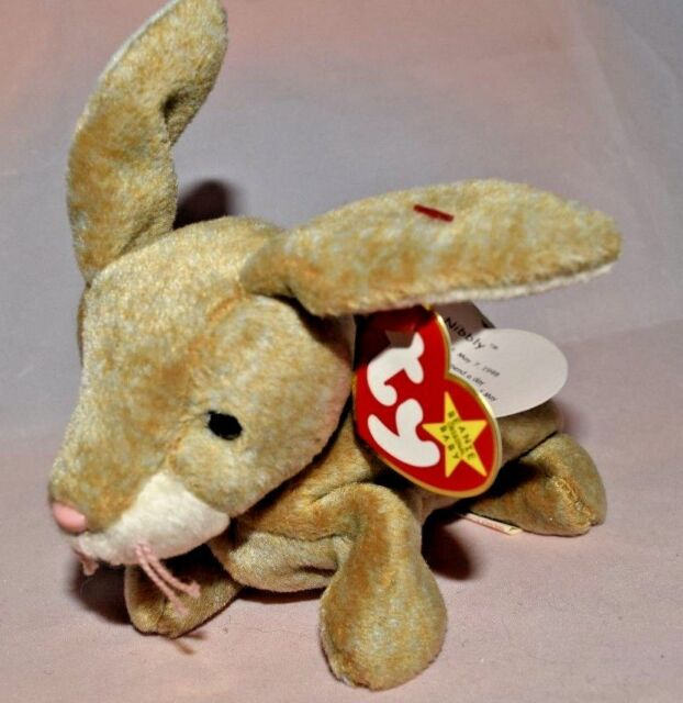 577e0272257 Ty Beanie Baby Nibbly The Brown Bunny Rabbit MINT Tags W. Protector ...