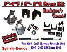 "07 -13 Chevy Silverado GMC Sierra 1500 3/5"" to 4/6"" Adjustable DROP KIT + SHOCKS"