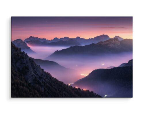 CANVAS Leinwand Bilder XXL Wandbilder Kunstdruck Natur Berge Nebel Abend 1167