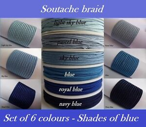 Soutache-Braid-Cord-6-colours-x-1-2-or-5-metres-Shades-of-blue-100-viscose-3mm