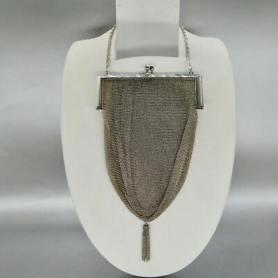 Splendido Art Deco Borsetta In Argento 800, Whiting & Davis Co, Hand Bag Mesh-mostra Il Titolo Originale Design Professionale