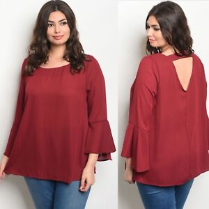 9840beb92a4 NWT 3X Women s Plus Size Burgundy Red Blouse Top BOUTIQUE