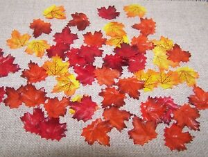 "50 Maple Leaves 1"" Mini Fall Harvest Autumn Craft Supply Home Decor"