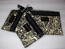 JUICY COUTURE CAMO CAT PRINT COSMETIC CASES SET OF 3 NEW WITH TAGS IN BAG