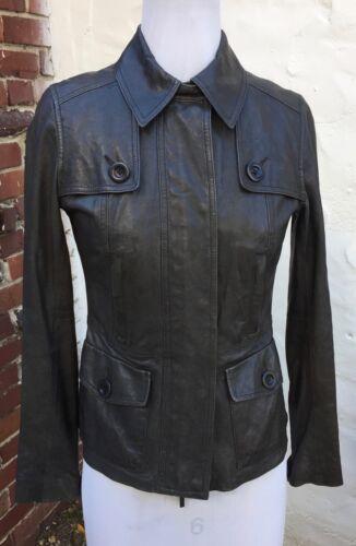 VINCE Leather Jacket Sz XS Olive Tarragon Green Ca