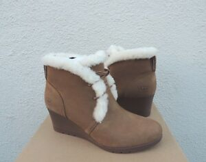e444c02bcaa Details about UGG JEOVANA CHESTNUT WATERPROOF LEATHER SHEEPSKIN WEDGE  BOOTS, US 9/ EUR 40 ~NIB
