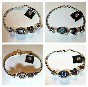 Image Is Loading Nfl Charm Bracelet Chicago Bears Miami Dolphins Ny