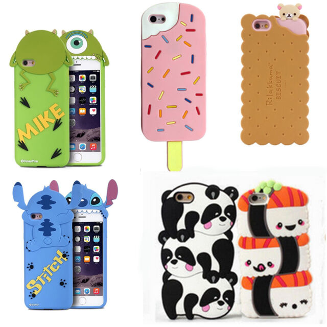 For IPhone Case 3D Cute Cartoon Kawaii Soft Gel Silicone Rubber Cover Back Skin