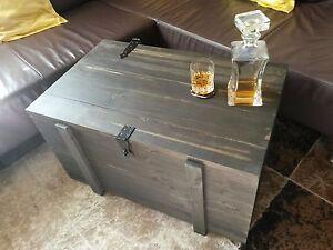 Das Bild Wird Geladen Brennholzkiste Kaminholztruhe Schwarz Rustikal Im Shabbychic Stil Holzkiste