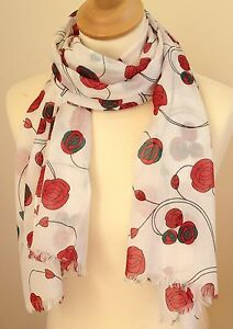Nuovo 100 Cotton Donna Mackintosh Stile Rose Rosse Sciarpa Con