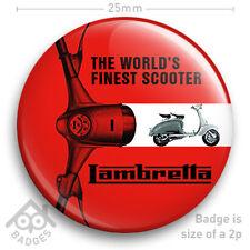 "LAMBRETTA Scooter Brochure Manual Cover LOGO MOD Vespa NEW - 25mm 1"" Badge"