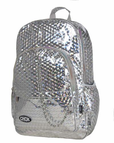 CHOK HOLO SILVER 3D REFLECTIVE BACKPACK RUCKSACK Rave Unisex School College Bag